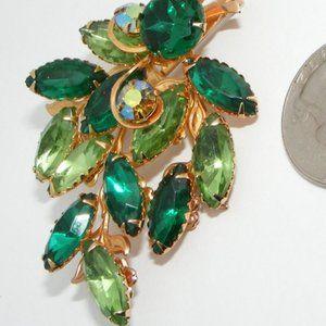 Vintage Green -AB Rhinestone Leaf Brooch